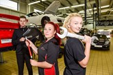 Three JCT600 apprentices at Porsche Centre Leeds