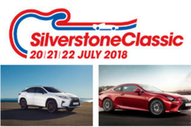 Silverstone Classic 2018 logo with Lexus Drive Live vehicles