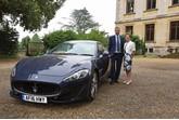 Marshall Maserati brand manager Tim Edwards with Thorpe Hall 'Bond girl' Judith Wojtowicz