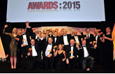 AM Awards 2015 winners photographed together on stage at the ICC Birmingham