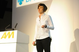 Karen Hilton, commercial director, carwow, on stage at AM Digitech