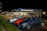 Arnold Clark's Wigan Motorstore taken at night