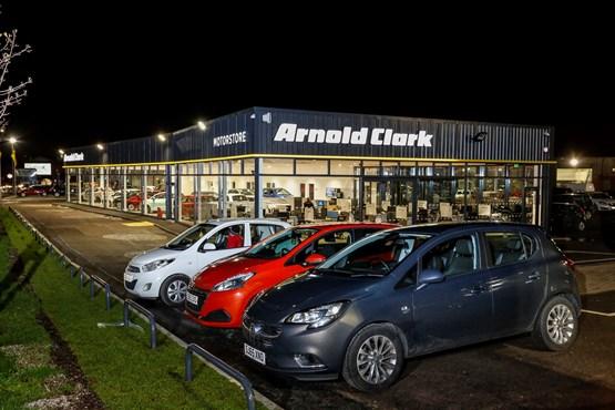 Arnold Clark's Wigan Motorstore taken at night