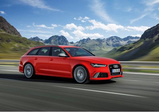 2015 Audi RS 6 Avant with a mountain range backdrop