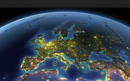 Europe from space at night