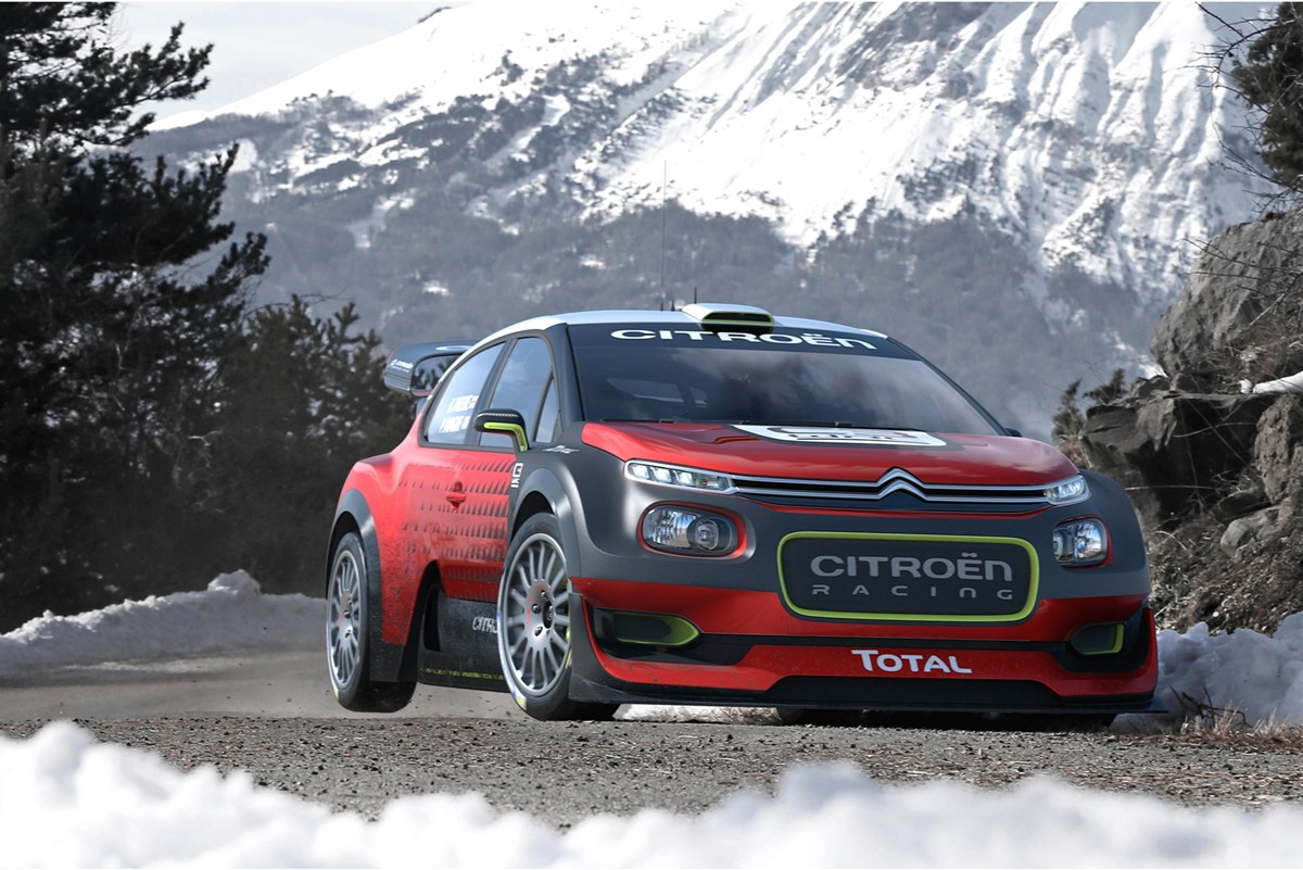 C3 WRC Concept front three-quarter in the mountains