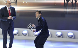 Simon Brodkin at the VW stand Geneva Motor Show 2016