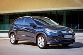 Front three-quarter view of the 2018 Honda HR-V in black