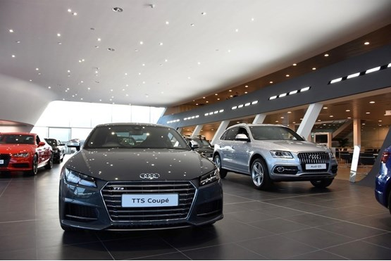 The showroom of John Clark Motor Group's Audi centre in Aberdeen