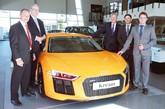 Steve Mallett (Audi South West Exeter Sales Manager), Michael Morgan (Audi South West Exeter Sales Executive), John Beavers (outgoing Kream director), Andrew Leach (new Kream director) and Matthew Prince (new Kream director)