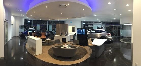 The showroom of Motorline's Lexus dealership in Tunbridge Wells