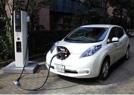 Nissan Leaf with quick charge point