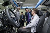 Business and Energy Secretary Greg Clark on a visit to Nissan's European R&D headquarters
