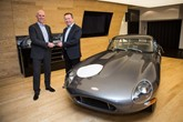 Jaguar Land Rover Special Operations' managing director John Edwards and Pendragon chief executive Trevor Finn with Jaguar E-type Chassis 15