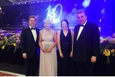 Alison Gilchrist (second left) collects Aberdeen Jaguar Land Rover's the Partner of the Year Award from (left to right): Peter Vardy, Claire Maith and Sir Peter Vardy