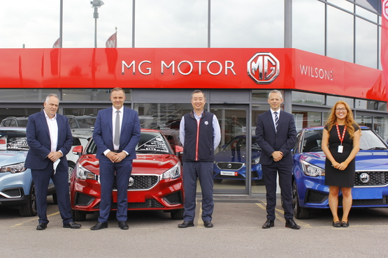 From left: Guy Pigounakis, MG Motor UK commercial director; Stuart Hill, Wilsons MG GM; William Wang, MG UK MD; David Wheatcroft, Wilsons MD; and Lauren Michael Wilsons MG sales manager