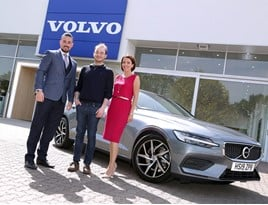 Buyer Matthew Blanksby (centre) collected his new Volvo V60 estate from business manager John-Michael Eastman and Volvo Car UK future retail manager Nicola Murphy