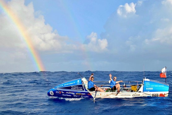 JCT600's James Tordoff and trans-Atlantic rowing partner Chris Nicholl during their 3,000-mile trans-Atlantic rowing challenge