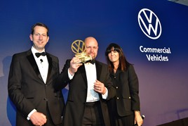 Carl zu Dohna with Gary Broad from JCB Sittingbourne Van Centre and Volkswagen Commercial Vehicles awards host Claudia Winkleman