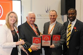 Swansway chairman Michael Smyth (centre left) and group director John Smyth (centre  right) accept their AM Best UK Dealerships to Work For awards from LTK Consultants'  managing director, Andrew Landell, and operations director Vanessa Kendrick