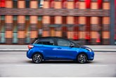Blue Toyota Yaris Hybrid low emission test drive