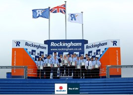 Graduates of the Suzuki GB Advanced Apprenticeship Programme at the Rockingham Motor Speedway