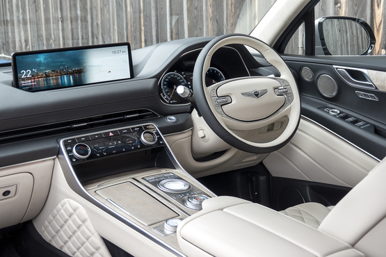 Inside the cabin of the Genesis GV80 SUV