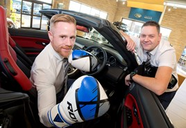 Tom Iveson (left), business manager at Gordon Lamb Chesterfield Land Rover with Jon Sudbury, sales manager