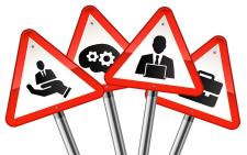 Finance road warning signs