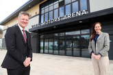 Vertu Motors CEO Robert Forrester with Sam Blake, chief executive officer of the Eagles Community Foundation