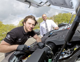 Apprentice Adam Johnston with Domanic Fraternale, service manager at Farnell Land Rover