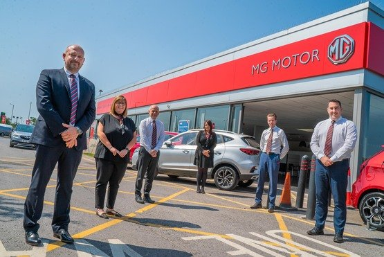 MG Carlisle (from left): David Brown, general manager; Kerry Green, service advisor; Andrew Gornall (Accountant), Amanda Bulman, service advisor; Tim Roelich, general sales manager; Paul Ruthven, service manager