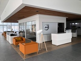 The lounge area at Lipscomb Cars' new Volvo Car UK showroom near Canterbury