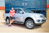 England Rubgy player Jonny May takes delivery of Mitsubishi L200