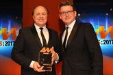 Philip J Deacon, head of  marketing, Marshall Motor Group, accepts the AM Award 2017: Best use of social media from Jeremy Evans, managing director, Marketing Delivery
