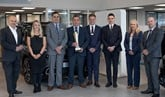 The team at Islington Motor Group receive Citroen's Golden Chevron award from Citroen UK sales director, Eurig Druce, and national performance manager, Sarah Speed
