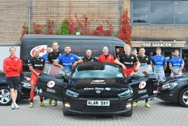 Title holders: Saracens players an their Alan Day Volkswagen Polo