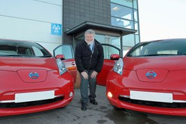 Andrew Charles, transport services officer at Avon and Somerset Constabulary, with the two Nissan Leafs
