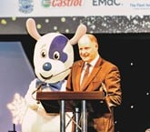 Luckers chief executive Andy Bruce and Lucky the Dog at the Ben Ball