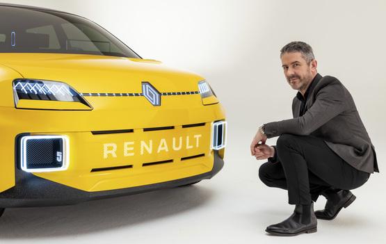 Renault design director, Gilles Vidal, with the Renault 5 hatchback prototype