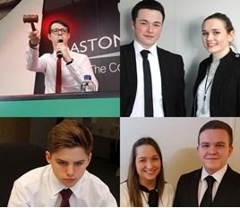 Aston Barclay apprentices, including new starter Liam Draper (bottom left)