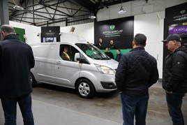 A Ford Transit passes through the auction halls at an Aston Barclay LCV sale prior to the COVID-19 pandemic