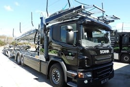 An Aston Barclay Scania P410 transporter