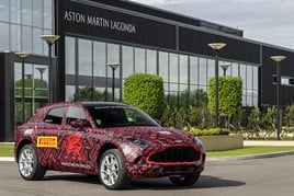 A pre-production Aston Martin DBX outside Aston Martin Lagonda's St Athan manufacturing plant