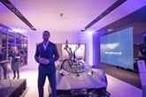 Rio Ferdinand at Stratstone's Mayfair Aston Martin showroom