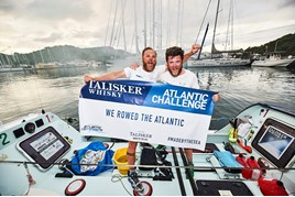 JCT600's James Tordoff and trans-Atlantic rowing partner Chris Nicholl celebrate their 3,000-mile rowing success