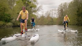On your Waterbike: Darren Guiver, managing director of Group 1 Automotive; Jon Wakefield, of Volvo; and Tim Tozer, chief executive of Allianz Partners UK & Ireland