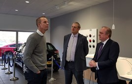 Nick Boles MP (left) listens to Danny Stone, chief executive of Donalds Mazda's parent group Central Garage (Uppingham), and people and development manager Graham Walker (centre).
