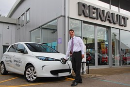 Richard Lodge, general manager of Brayley Renault Milton Keynes, charges a Renault ZOE EV
