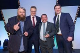 Vertu Motors awards (left to right): Actor Brian Blessed, Vertu chief executive Robert Forrester, Ali Aitken, Brett Martin of SWR Newstar